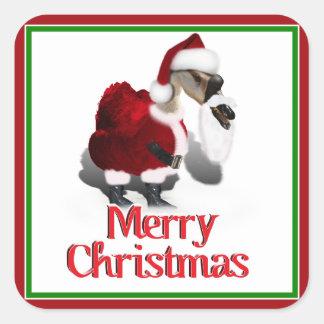 Ganso tonto de Santa - navidad palmído Pegatina Cuadradas