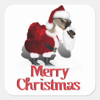 Ganso tonto de Santa - navidad palmído Calcomanías Cuadradass