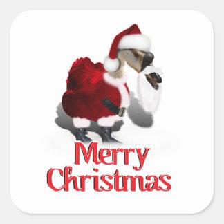 Ganso tonto de Santa - navidad palmído Calcomanías Cuadradass Personalizadas