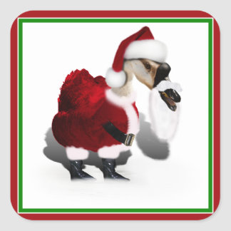 Ganso tonto de Santa - navidad palmído Pegatina Cuadradas Personalizada