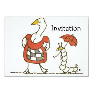 """Ganso y Caterpillar Invitación 5"""" X 7"""""""