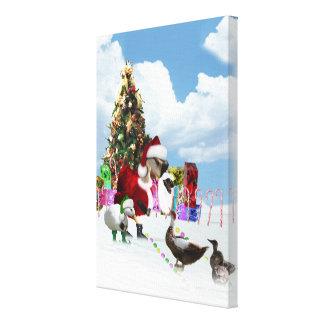 Ganso y patos de Santa del navidad Lona Envuelta Para Galerías