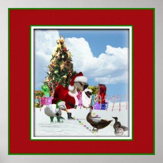 Ganso y patos de Santa del navidad Poster