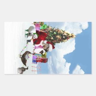 Ganso y patos de Santa del navidad Rectangular Pegatinas