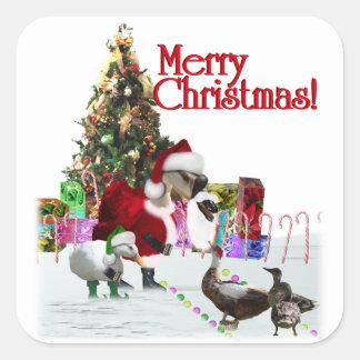 Ganso y patos de Santa del navidad Calcomanía Cuadrada