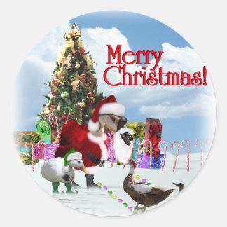 Ganso y patos de Santa del navidad Pegatina Redonda