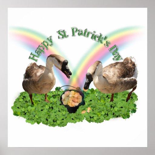 Gansos afortunados del día de St Patrick Póster