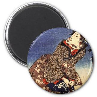 Gansos autoguiados hacia el blanco de Kuniyoshi en Imán Redondo 5 Cm
