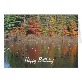 Gansos de Canadá en tarjeta de cumpleaños de la na