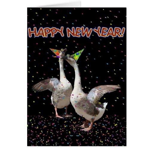Gansos de la Feliz Año Nuevo Felicitacion