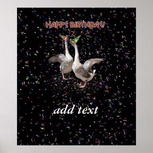 Gansos del feliz cumpleaños impresiones