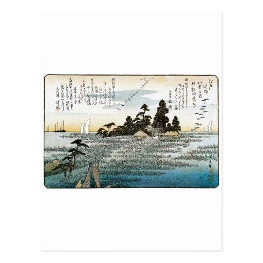 Gansos descendentes en Haneda, C. 1837-38. JAPÓN Tarjeta Postal