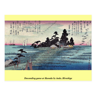 Gansos descendentes en Haneda por Ando, Hiroshige Postal