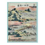 Gansos descendentes en Katada por Katsushika, Hoku Postales