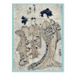 Gansos descendentes por Isoda, Koryusai Tarjeta Postal