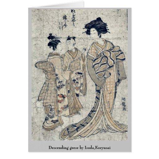 Gansos descendentes por Isoda, Koryusai Tarjetón