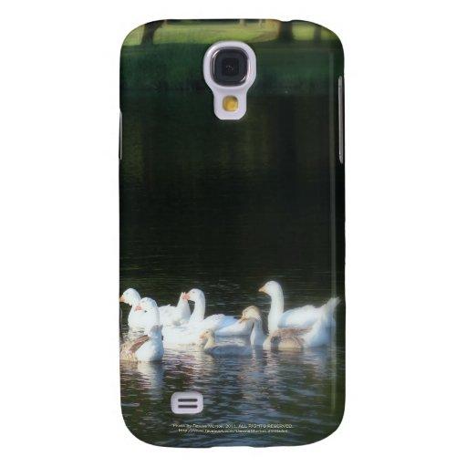 gansos en la charca Trojan, cerca de Goble, Oregon Funda Para Galaxy S4