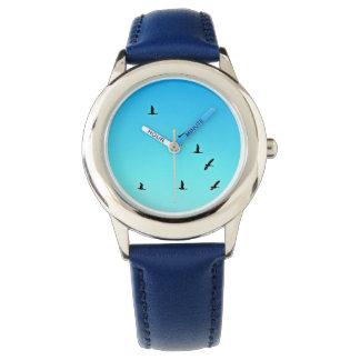 Gansos inoxidables de la puesta del sol del azul relojes de mano