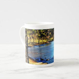 Gansos que nadan en el lago a medias congelado - á tazas de porcelana