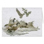 Gansos salvajes en la tarjeta de Navidad de la nie