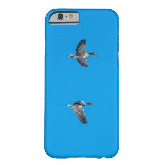 Gansos salvajes que vuelan en el cielo azul funda barely there iPhone 6