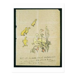 Gansos y ansarones (w/c y tinta en el papel) tarjetas postales