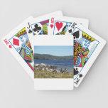 Gansos y lago con el velero cartas de juego