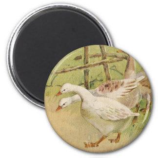Gansos y vintage Pascua del polluelo Imán Redondo 5 Cm
