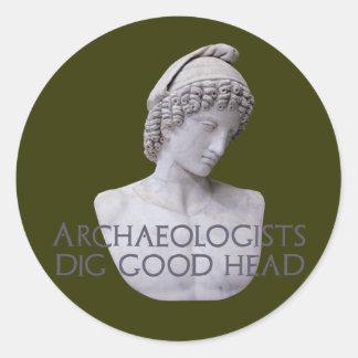 Ganymede Archaelogists Dig Good Head Classic Round Sticker