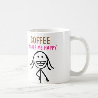 Gap toothed girl, Coffee makes me happy, Mug