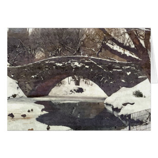 GAPSTOW BRIDGE IN NYC'S CENTRAL PARK IN WINTER GREETING CARDS