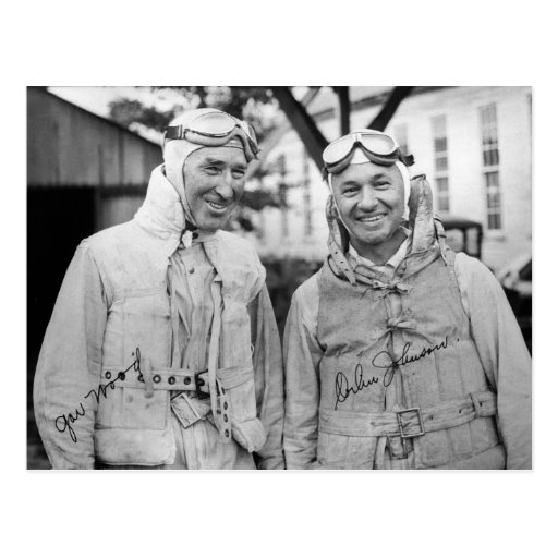 "Gar Wood and Orlin Johnson - Vintage ""Autographed"" Postcards"