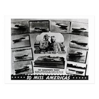 Gar Wood and Ten Miss America Race Boats Postcard