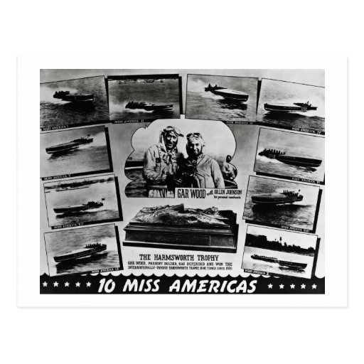 Gar Wood and Ten Miss America Race Boats Post Card