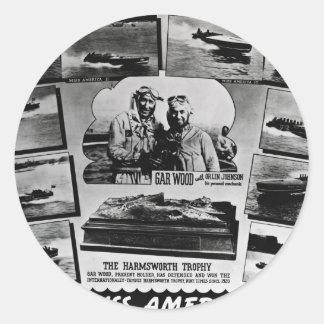 Gar Wood Vintage Speedboat Racing Miss Americas Round Sticker