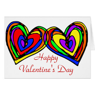 Garabato de los corazones del arco iris tarjeta de felicitación