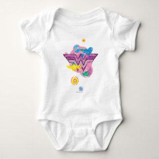 Garabatos coloridos de la Mujer Maravilla Body Para Bebé