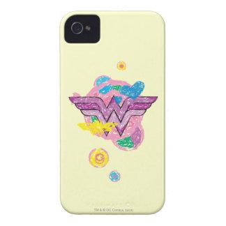 Garabatos coloridos de la Mujer Maravilla iPhone 4 Cárcasas