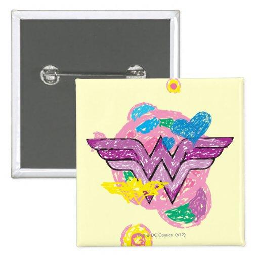 Garabatos coloridos de la Mujer Maravilla Pin Cuadrada 5 Cm