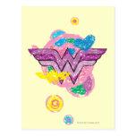 Garabatos coloridos de la Mujer Maravilla Postal