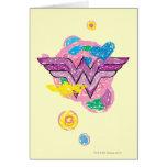 Garabatos coloridos de la Mujer Maravilla Tarjeta De Felicitación