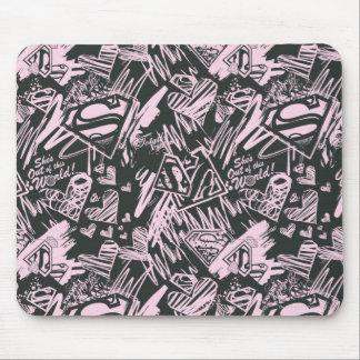 Garabatos del rosa y del negro de Supergirl Mousepads