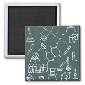 Garabatos químicos del equipo de laboratorio imán cuadrado
