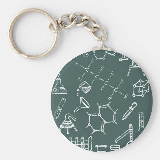 Garabatos químicos del equipo de laboratorio llaveros personalizados