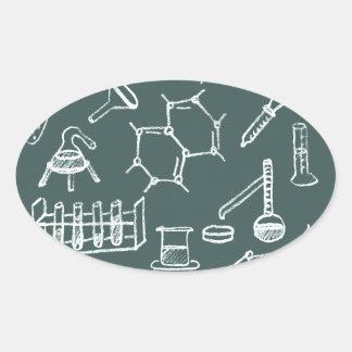 Garabatos químicos del equipo de laboratorio calcomanía de oval