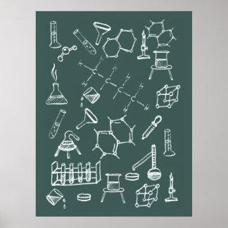 Garabatos químicos del equipo de laboratorio póster