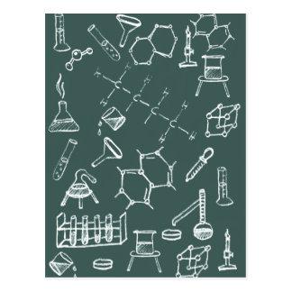 Garabatos químicos del equipo de laboratorio tarjetas postales