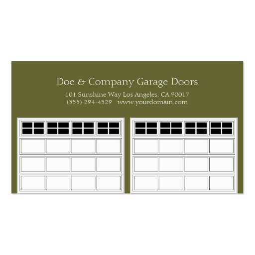 Garage Door Company Forest Green Business Card