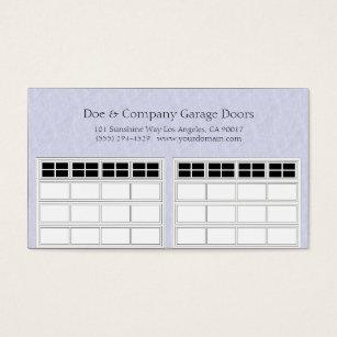 Garage Door Company Light Blue Business Card