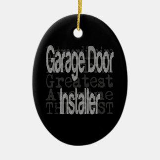 Garage Door Installer Extraordinaire Double-Sided Oval Ceramic Christmas Ornament